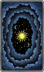 The Dark Mansion Tarot deck - Regular Version 2nd. Edition - Black edges, blue reverse of cards (clouds)